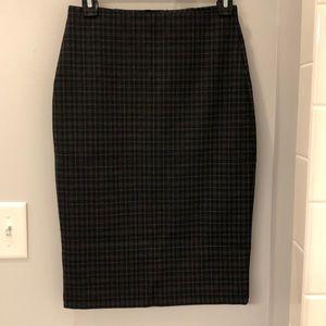 Black Plaid Pencil Skirt